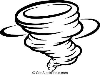 concept, tornade, ouragan, cyclone, twister, ou, icône