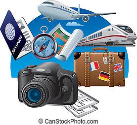 concept, tourisme, icône