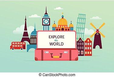 concept, tourisme, voyage, illustration, vecteur, conception, suitcase., ouvert