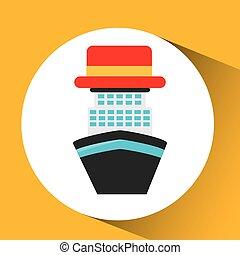 concept, touriste, voyage, mer, croisière, chapeau