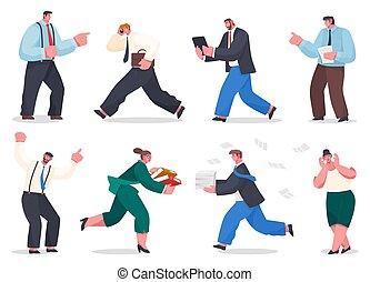 concept, très, stressant, pile, tenue, travail, occupé, papier, surcharge, courant, serviette, hommes affaires