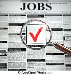 concept., trabajo, advertiseme, periódico, empleo, loupe, ...