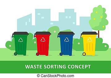 concept., tracić, sortowanie, recycling