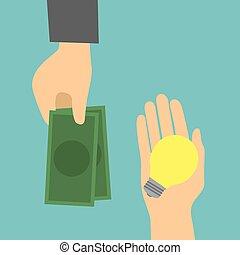Concept trading exchange idea and money