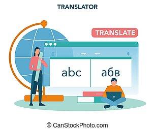 concept., traduzione, servizio, translator, polyglot, ...