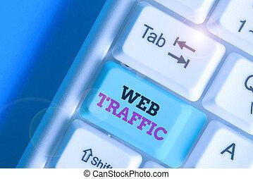 concept, traffic., montant, reçu, signification, toile, écriture, envoyé, website., écriture, données, visiteurs, texte