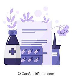 concept., traitement, collection, santé, médicament, ...