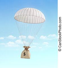 concept, transfer., sac, help., argent, argent., jeûne, parachute, arrière-plan., payment., tomber, ciel