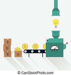 concept, transformer, idée commerciale, argent, créatif