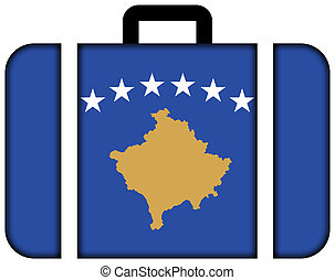 concept, transport, voyage, drapeau, valise, icône, kosovo.