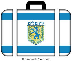 concept, transport, voyage, jerusalem., drapeau, valise, icône