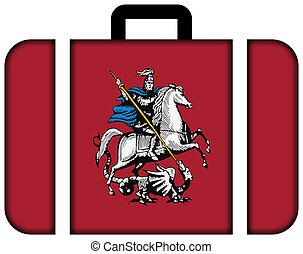 concept, transport, voyage, moscow., drapeau, valise, icône
