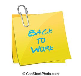 concept, travail, dos, chargement, poste, message