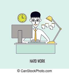 concept, travail, dur
