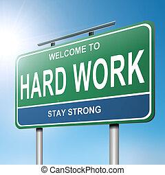 concept., travail, dur