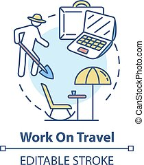 concept, travail, icône, voyage