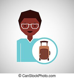 concept travel girl with suitcase design graphic