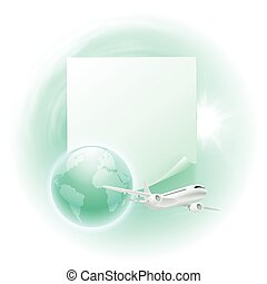 Concept travel illustration with airplane, blue globe and note for your text