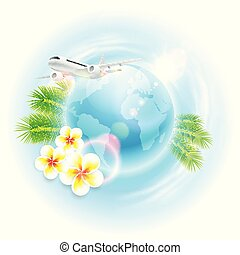 Concept travel illustration with airplane, globe, flowers and palm leaves