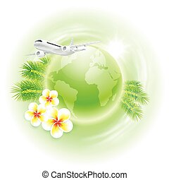 Concept travel illustration with airplane, green globe, flowers and palm leaves