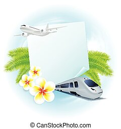 Concept travel illustration with airplane, train, flowers and palm leaves