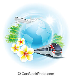 Concept travel illustration with airplane, train, globe, flowers and palm leaves