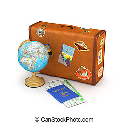 Concept travel. Suitcase for travel. Globe, passport and tickets near the suitcase isolate on a white background. 3d illustration