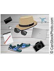 concept, traveler's, reizen, accessories., achtergrond, aanzicht