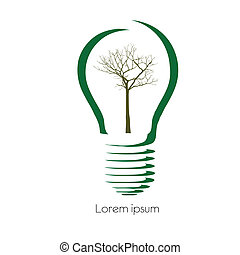 Concept tree in light bulb symbol