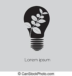 Concept tree in light bulb symbol o