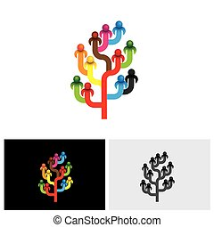 concept tree of company employees working together as a team vector logo icon