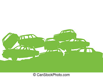 concept, tri, décharge, affiche, gaspillage, junkyard, écologie, arrière-plan vert, gestion, gaspillage