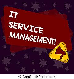 concept, triangle, service, processus, texte, intérieur, entreprise, il, couleur écriture, signification, rectangle, vide, services, announcement., écriture, porte voix, aligner, management.