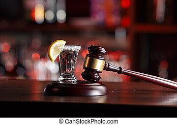 concept, tribunal, conduite, boissons alcooliques, hammer-the