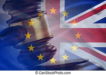 concept, tribunal, marteau, grève, drapeaux, royaume-uni, eu