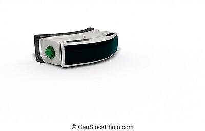 concept, tridimensionnel, étude, réalité virtuelle, 2, lunettes