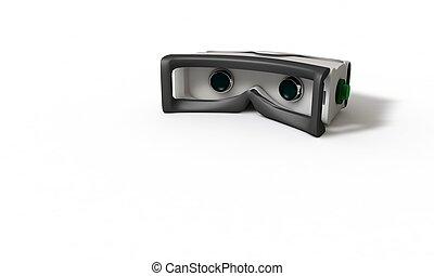 concept, tridimensionnel, étude, réalité virtuelle, 3, lunettes