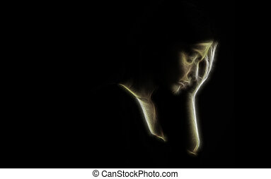 –, concept, triste, dépression, femme