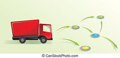 concept., truck., illustration, logistisk