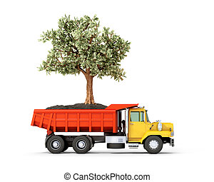 Concept. Truck with money tree in the back on a white background