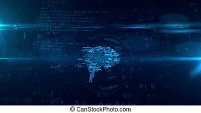 concept, tunnel, cyber, cerveau, animation, boucle