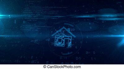 concept, tunnel, maison, iot, animation, intelligent, boucle