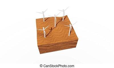 concept, turbines, animation, vent, désert, sablonneux, 3d