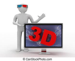 concept, tv, tv., 3d, hd, homme