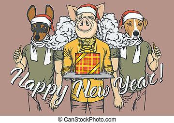 concept, twee, varken, vector, jaar, nieuw, honden