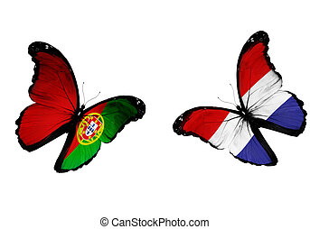 Concept - two butterflies with Netherlandish and Portuguese...