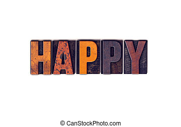 concept, type, isolé, letterpress, heureux