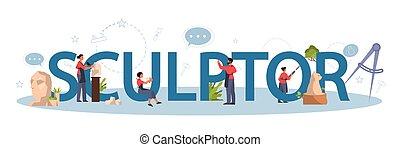 concept., typografisch, gebeeldhouwd kunstwerk, ...