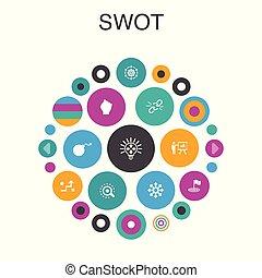 concept., ui, swot, infographic, elementos, esperto, força, oportunidade, fraqueza, círculo