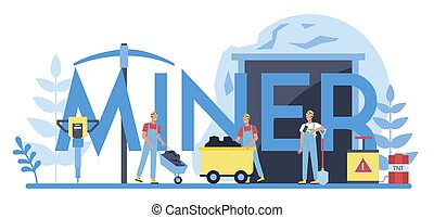 concept., uniforme, tipográfico, trabalhador, capacete, cabeçalho, mineiro